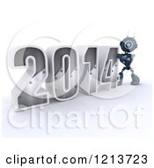 Clipart Of A 3d Blue Android Robot Pushing New Year 2014 Together Royalty Free CGI Illustration