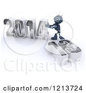 Clipart Of A 3d Blue Android Robot Pushing New Year 2014 Together By A Knocked Down 13 Royalty Free CGI Illustration