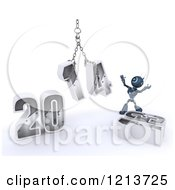 Clipart Of A 3d Blue Android Robot Assembling New Year 2014 With A Hoist Royalty Free CGI Illustration