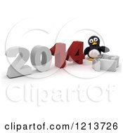 Clipart Of A 3d Penguin Pushing New Year 2014 Together By A Knocked Down 13 Royalty Free CGI Illustration by KJ Pargeter