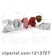 3d Owl Pushing New Year 2014 Together Over A Knocked Down 2013