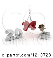 Clipart Of A 3d Owl Assembling New Year 2014 With A Hoist Royalty Free CGI Illustration