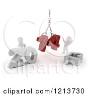 Clipart Of 3d New Year White Characters Replacing 2013 With 2014 On A Hoist Royalty Free CGI Illustration