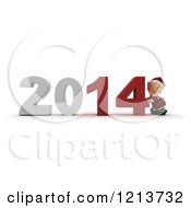Clipart Of A 3d Christmas Elf Pushing New Year 2014 Numbers Together Royalty Free CGI Illustration