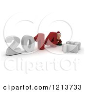 Clipart Of A 3d Christmas Elf Pushing New Year 2014 Numbers Together Over A Knocked Down 13 Royalty Free CGI Illustration