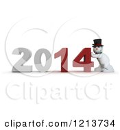 Clipart Of A 3d Snowman Pushing 2014 New Year Together Royalty Free CGI Illustration