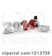 Clipart Of A 3d Snowman Pushing 2014 New Year Together Over A Knocked Down 13 Royalty Free CGI Illustration