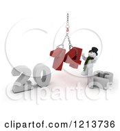 Clipart Of A 3d Snowman Assembling 2014 New Year Together With A Hoist Royalty Free CGI Illustration