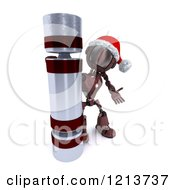 Clipart Of A 3d Red Android Robot With A Giant Christmas Cracker Royalty Free CGI Illustration by KJ Pargeter