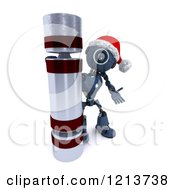 Clipart Of A 3d Blue Android Robot With A Giant Christmas Cracker Royalty Free CGI Illustration by KJ Pargeter