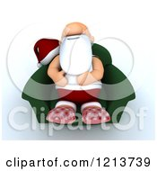 Clipart Of A 3d Exhausted Santa Relaxing In A Chair Royalty Free CGI Illustration