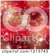 Clipart Of A Merry Christmas And A Happy New Year Greeting With Gold Designs Over Red Bokeh And Snowflakes Royalty Free Vector Illustration