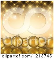 Clipart Of A Row Of Christmas Baubles Over Golden Stars And Sparkly Lights Royalty Free Vector Illustration