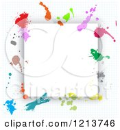 Clipart Of A Frame With Splattered Paint On Graph Paper Royalty Free Vector Illustration