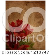 Clipart Of A Grunge Texture Over Red Tulips Royalty Free CGI Illustration by KJ Pargeter