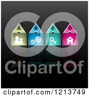 Clipart Of Colorful Website Icon Infographics On Black With Sample Text Royalty Free Vector Illustration by KJ Pargeter