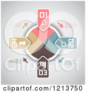Clipart Of An Infographics Dial With Numbered Tabs And Sample Text On Gray Royalty Free Vector Illustration by KJ Pargeter