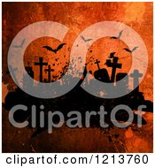 Clipart Of Tombstones In A Cemetery Under Flying Bats On Orange Grunge Royalty Free Illustration