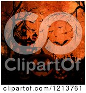 Clipart Of A Cemetery With Bare Trees Jackolanterns Bats And A Haunted House Over Grungy Orange Royalty Free Vector Illustration