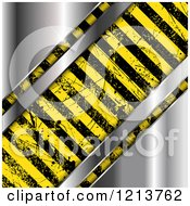 Clipart Of Grungy Hazard Stripes Over Shiny Metal Royalty Free Vector Illustration by KJ Pargeter