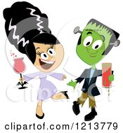 Frankenstein And His Bride Holding Drinks And Dancing At A Halloween Party