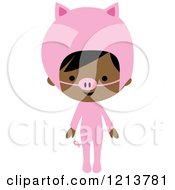 Cute Black Girl In A Pink Piggy Halloween Costume
