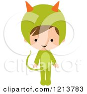 Cute Boy In A Green Monster Halloween Costume