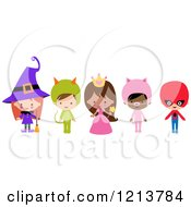 Cartoon Of Cute Children In Witch Princess Pig Super Hero Halloween Costumes Royalty Free Vector Clipart by peachidesigns