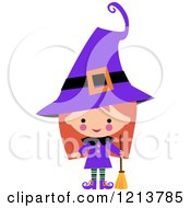 Cartoon Of A Cute Girl In A Purple Witch Halloween Costume Royalty Free Vector Clipart