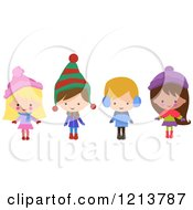 Cartoon Of Happy Christmas Children In Winter Clothes Royalty Free Vector Clipart
