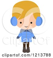 Happy Blond Boy Wearing A Winter Coat And Ear Muffs
