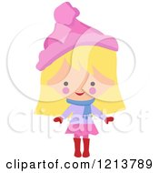 Happy Blond Girl Wearing A Winter Hat And Scarf