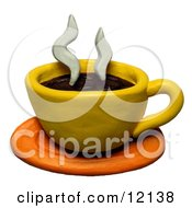 Clay Sculpture Clipart Steamy Cup Of Coffee Royalty Free 3d Illustration