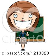 Cartoon Of A Happy Female Teacher Holding A Thumb Up Royalty Free Vector Clipart