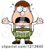 Cartoon Of A Scared Oktoberfest German Boy Screaming Royalty Free Vector Clipart
