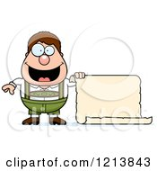 Cartoon Of A Happy Oktoberfest German Boy Holding A Scroll Sign Royalty Free Vector Clipart