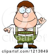 Cartoon Of A Friendly Waving Oktoberfest German Boy Royalty Free Vector Clipart