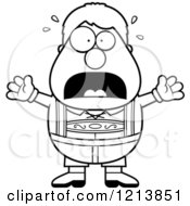 Cartoon Of A Black And White Scared Oktoberfest German Boy Screaming Royalty Free Vector Clipart