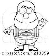 Cartoon Of A Black And White Friendly Waving Oktoberfest German Boy Royalty Free Vector Clipart