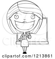 Cartoon Of A Black And White Happy Female Teacher Holding A Thumb Up Royalty Free Vector Clipart