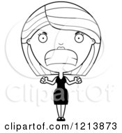 Cartoon Of A Black And White Mad Woman In A Black Dress Royalty Free Vector Clipart