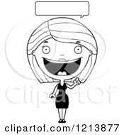 Cartoon Of A Black And White Happy Talking Woman In A Black Dress Royalty Free Vector Clipart