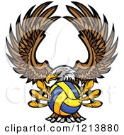Cartoon Of A Bald Eagle Flying With A Water Polo Ball In Its Talons Royalty Free Vector Clipart