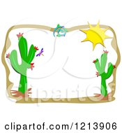 Cartoon Of A Sun And Cactus Border Royalty Free Vector Clipart by bpearth