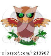 Cartoon Of A Brown Owl Stretching His Wings Over A Full Moon Royalty Free Vector Clipart by bpearth