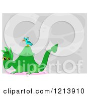Cartoon Of A Bird On A Green Dragon Over Gray Royalty Free Vector Clipart by bpearth