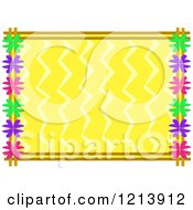 Border Of Colorful Flowers Around Yellow Zig Zags