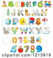 Cartoon Of Animal And Object Alphabet Letters And Numbers Royalty Free Vector Clipart by Alex Bannykh
