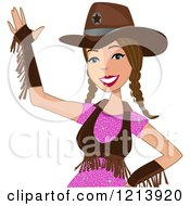Cartoon Of A Friendly Waving Brunette Cowgirl With Braids Royalty Free Vector Clipart by peachidesigns
