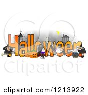 Cartoon Of A Vampires Frankenstein And Witches Around The Word HALLOWEEN Royalty Free Clipart